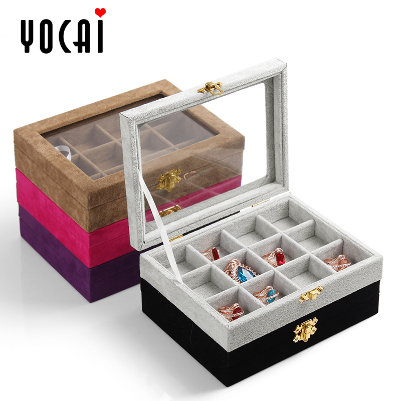 Excellent color trumpet portable storage box jewelry box velvet jewelry rings earrings bracelets jewelry storage box