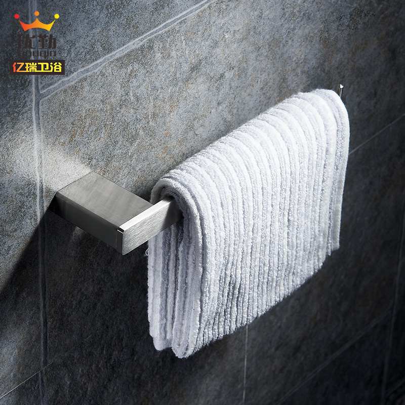 Excellent handling 304 brushed stainless steel towel ring towel rack full of solid square small-size methodist shower hardware accessories