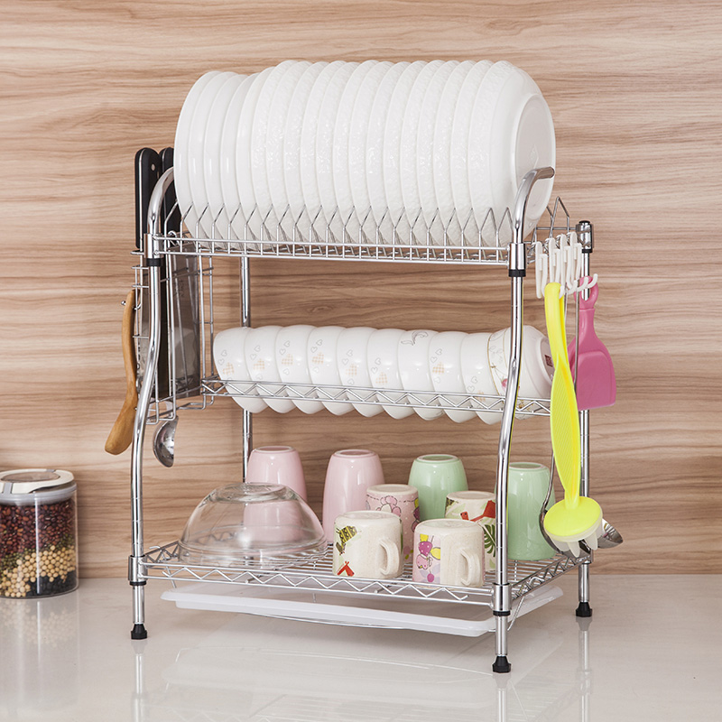 Excellent meng 3 layers of large size large floor drain rack dish rack/cutlery rack/dish rack dish rack cupboard washing 058