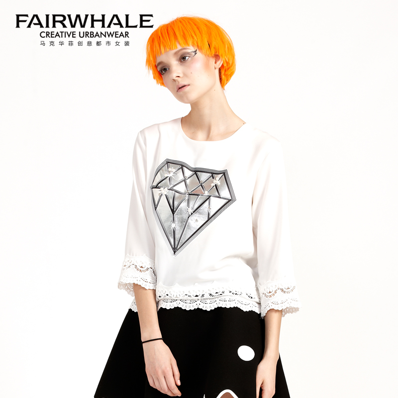 Fairwhale 2016 spring women commuter wild fashion beaded appliqué lace long sleeve white lace shirt