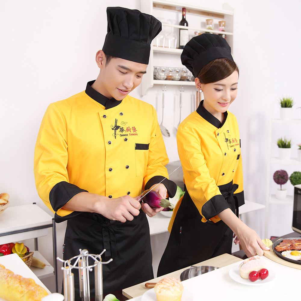 Fall and winter clothes chef kitchen chef service hotel chef sleeved clothing for men and women dining restaurant uniforms hotel uniforms cafeteria pastry