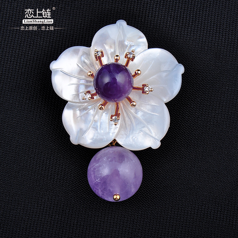 Fall in love with the chain of dual female models natural amethyst crystal flower brooch pin brooch fashion jewelry pendant necklace pendant