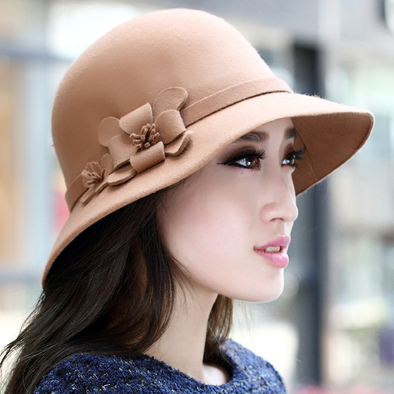 Fallon expensive rok tide ms. flowers pots wool felt hat tide autumn and winter hat female fashion personality