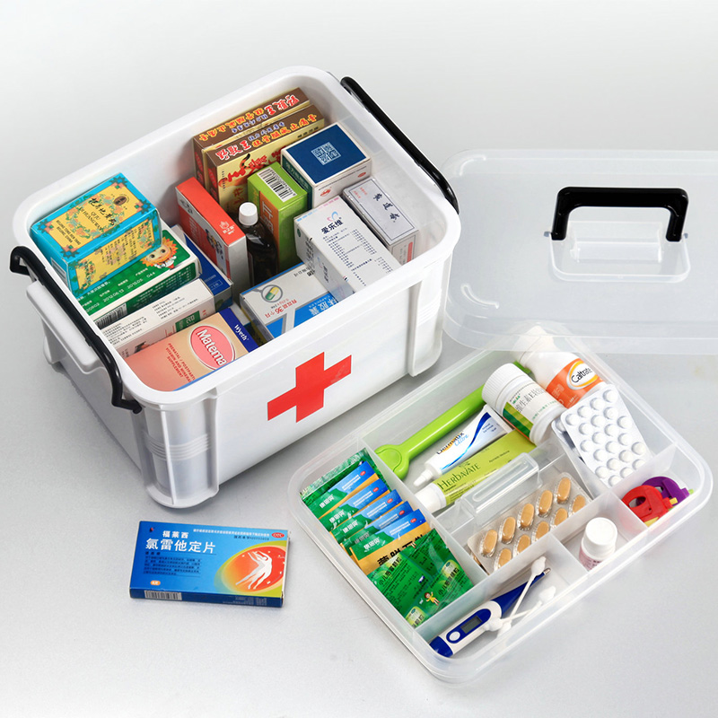 Family medicine chest with a large family medicine cabinet multilayer plastic medicine box first aid kit home medicine cabinet storage box of children's small kits