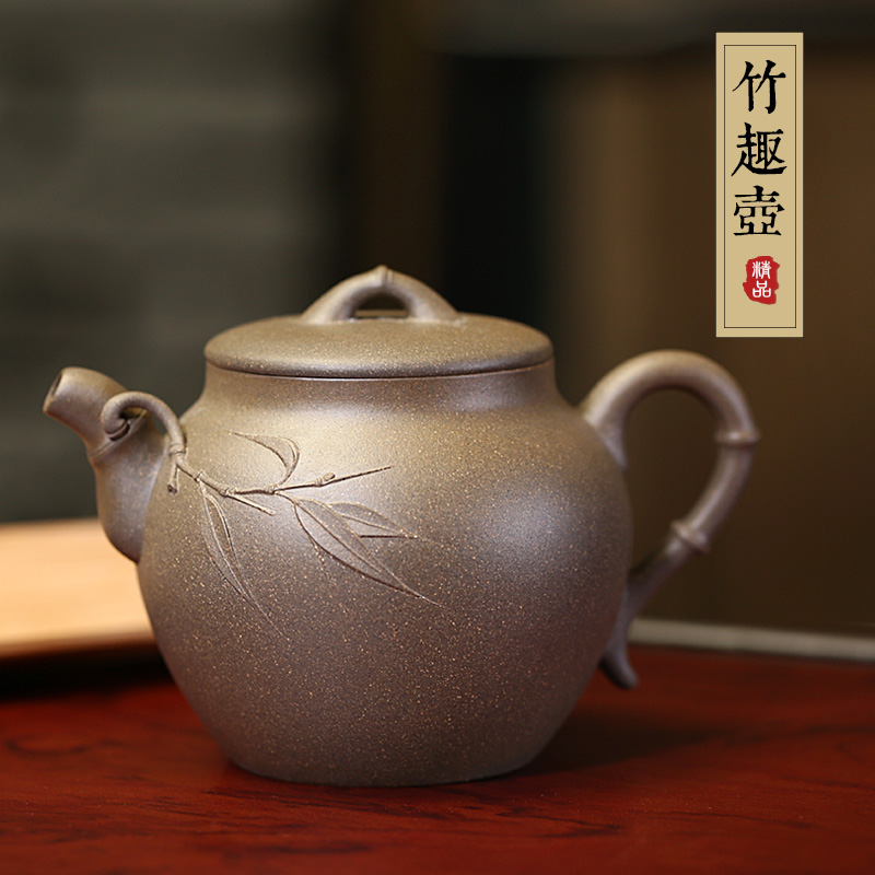 Famous yixing teapot ore pure handmade green tea segment mud teapot kung fu tea with paragraph slubby genuine special