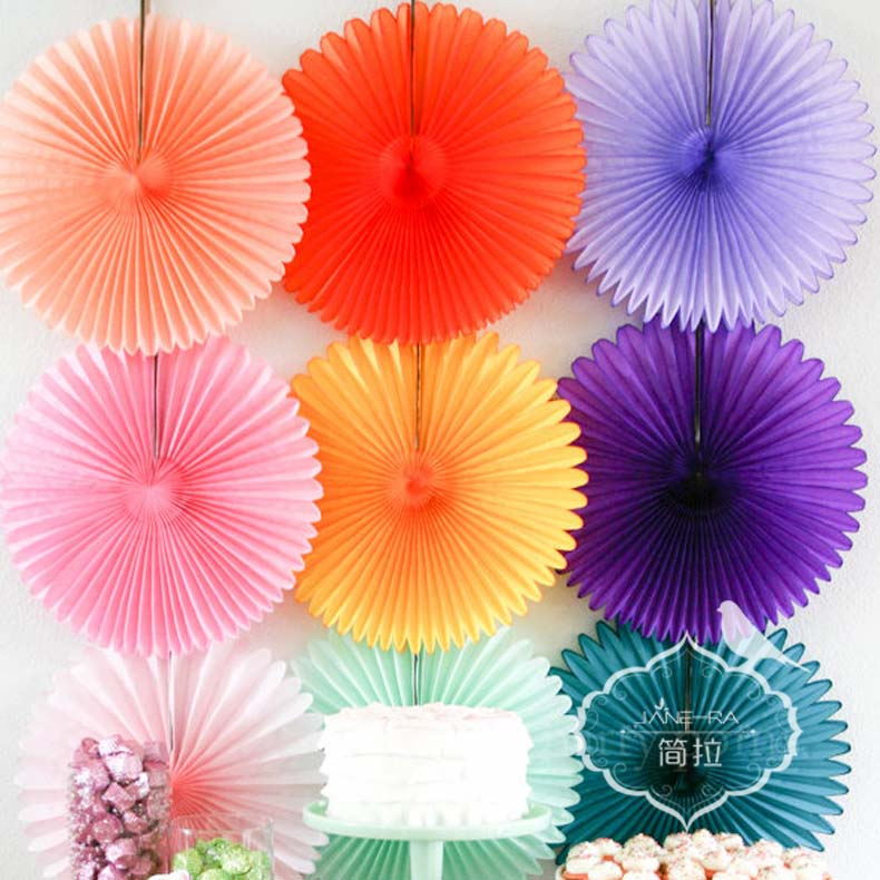 Fan flower pendant wedding supplies opened new house arranged marriage room garland wedding birthday party decoration paper fan flower
