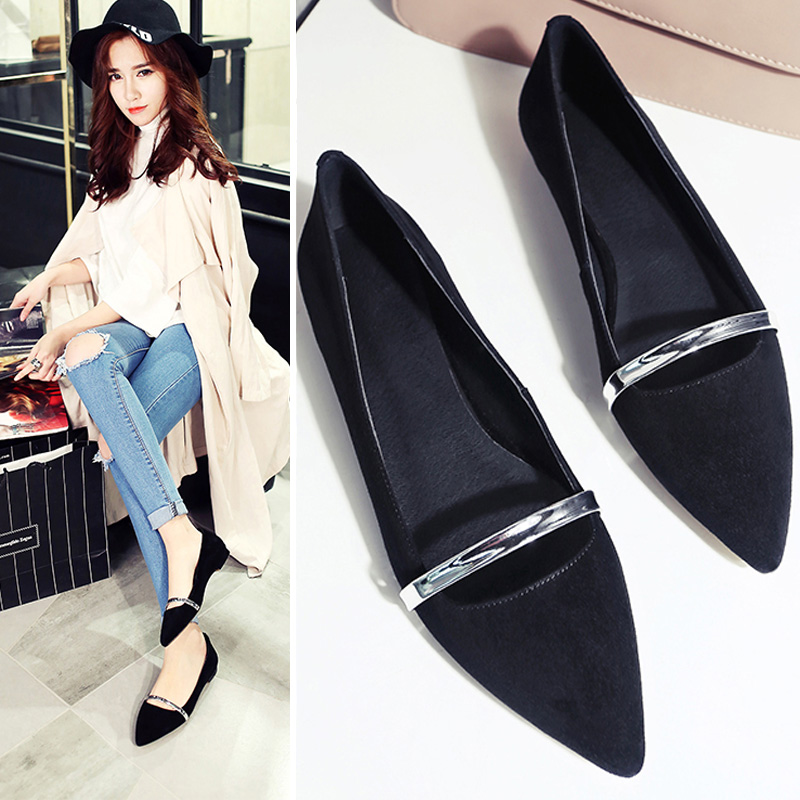 Fan news spring shoes fashion shoes pointed flat casual shoes 2016 korean version of a pedal shallow mouth shoes work shoes