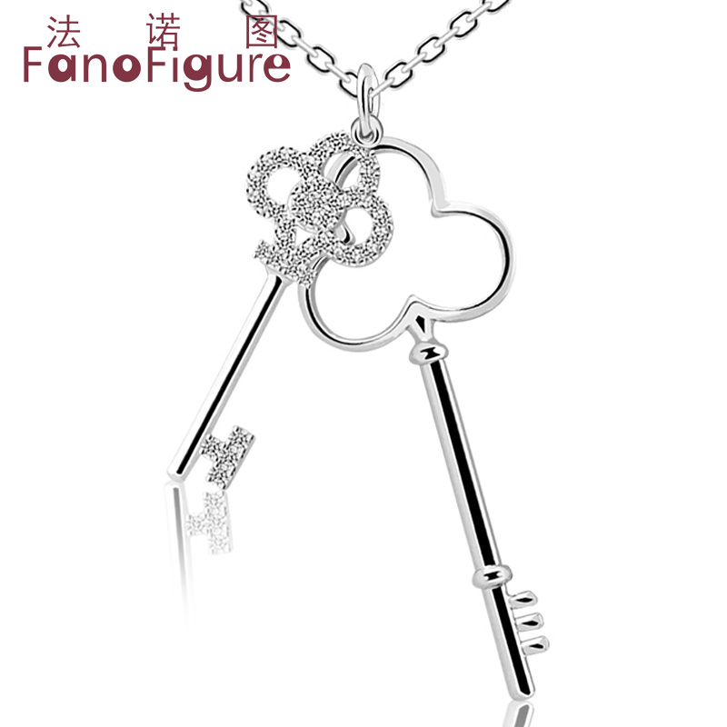 Fanuotuming jewelry double key a key pendant 925 silver necklace female clavicle chain pendant male and female friends gift