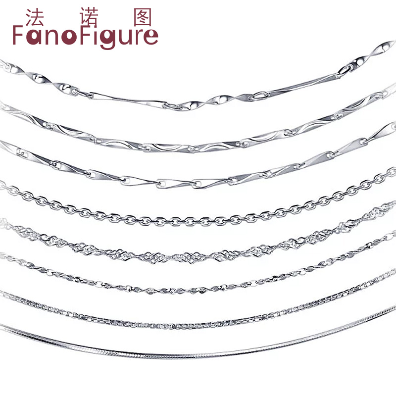 Fanuotuming silver jewelry 925 silver necklace short paragraph clavicle chain oval chain necklace female models wave chain box chain stars