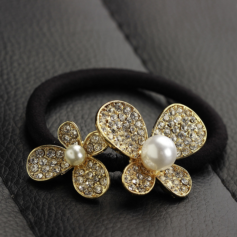 Fashion alloy diamond bow pearl hair band rubber band tousheng hair tie hair rubber band korean diamond tiara hair rope