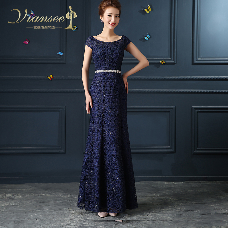 Fashion lace fishtail evening dress long section 2016 of the new shoulder evening dress banquet will host annual meeting dress