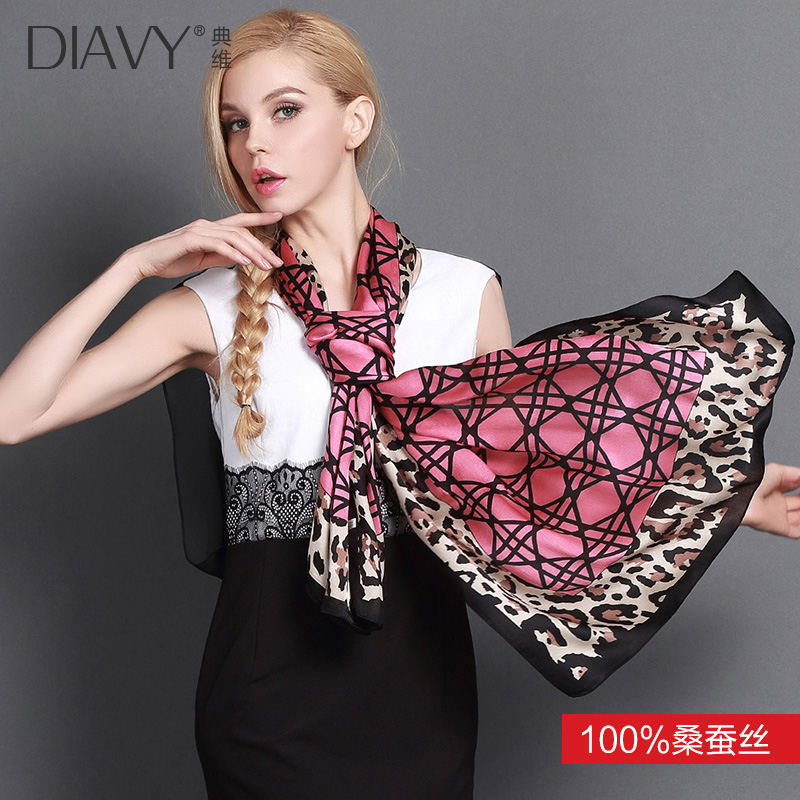 Fashion leopard scarf 100% silk upscale silk scarf silk scarf female spring and autumn plaid long section of the big