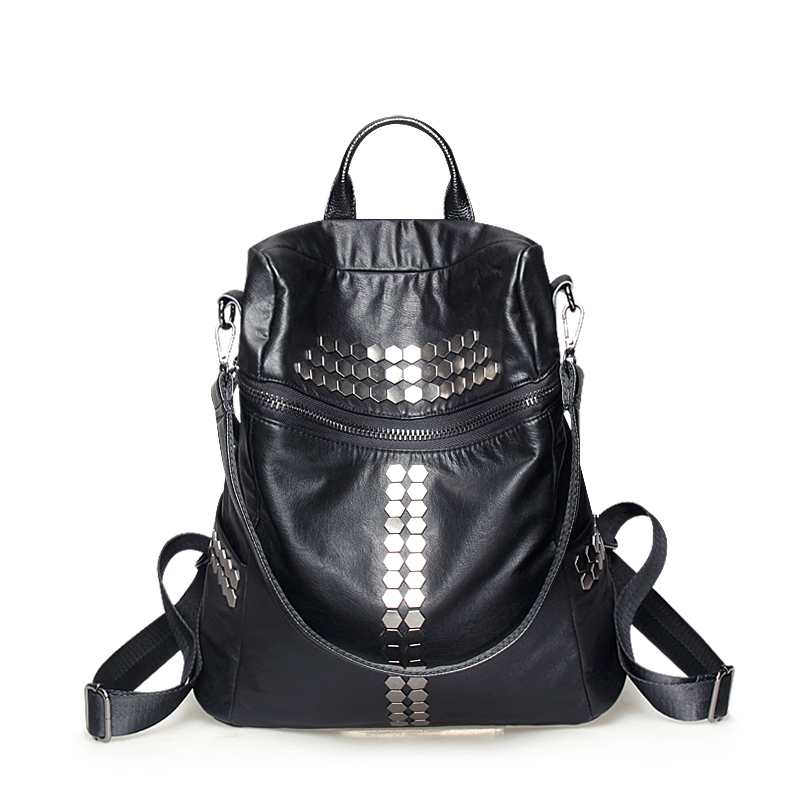 Get Quotations · Fashion women's shoulder bag with leather ladies leather backpack large capacity bag with three college wind