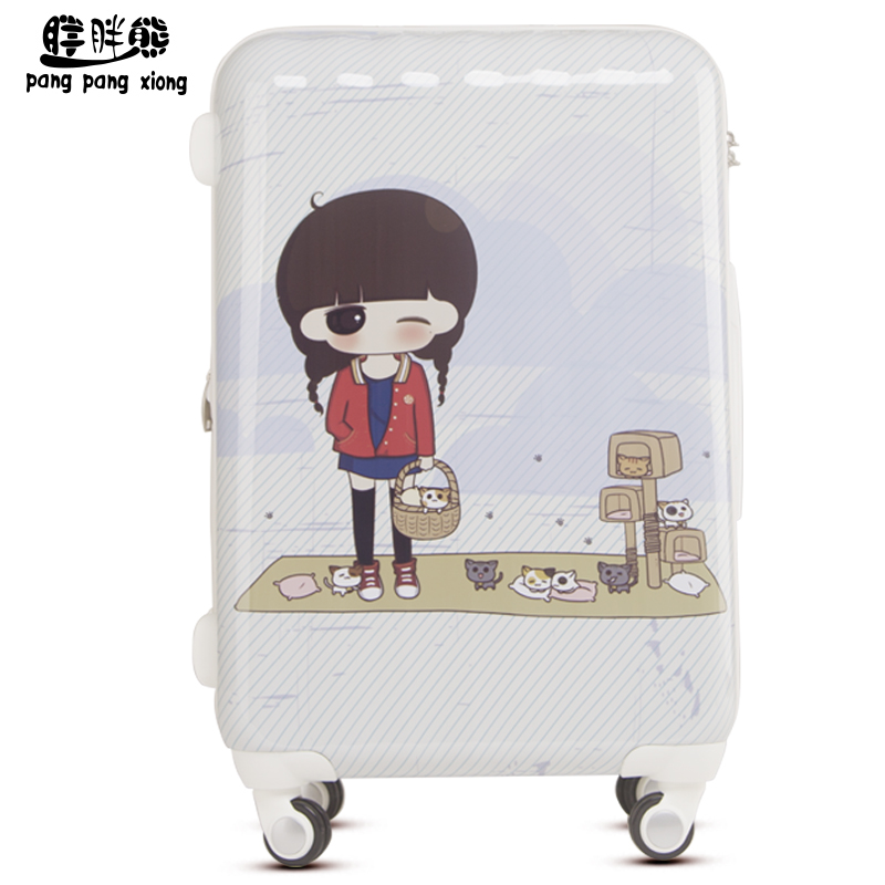 Fat bear cartoon small greek and ashu printing suitcase trolley case suitcase boarding student suitcase board chassis XXAS023