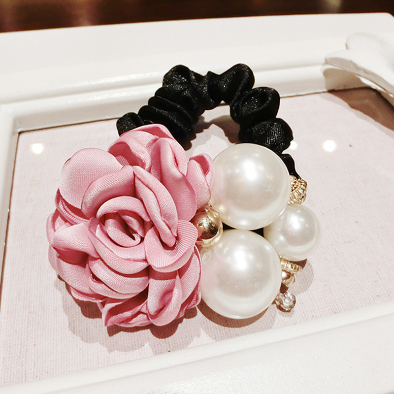 Faux pearl powder south korea rose flower hair tie tousheng korean hair ring hair skin tendons female headdress head flower jewelry