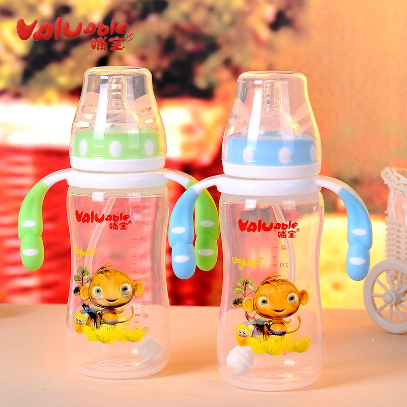 Feeding baby bottle wide caliber pp bottle with straw newborn baby drop resistance against flatulence temperature silicone