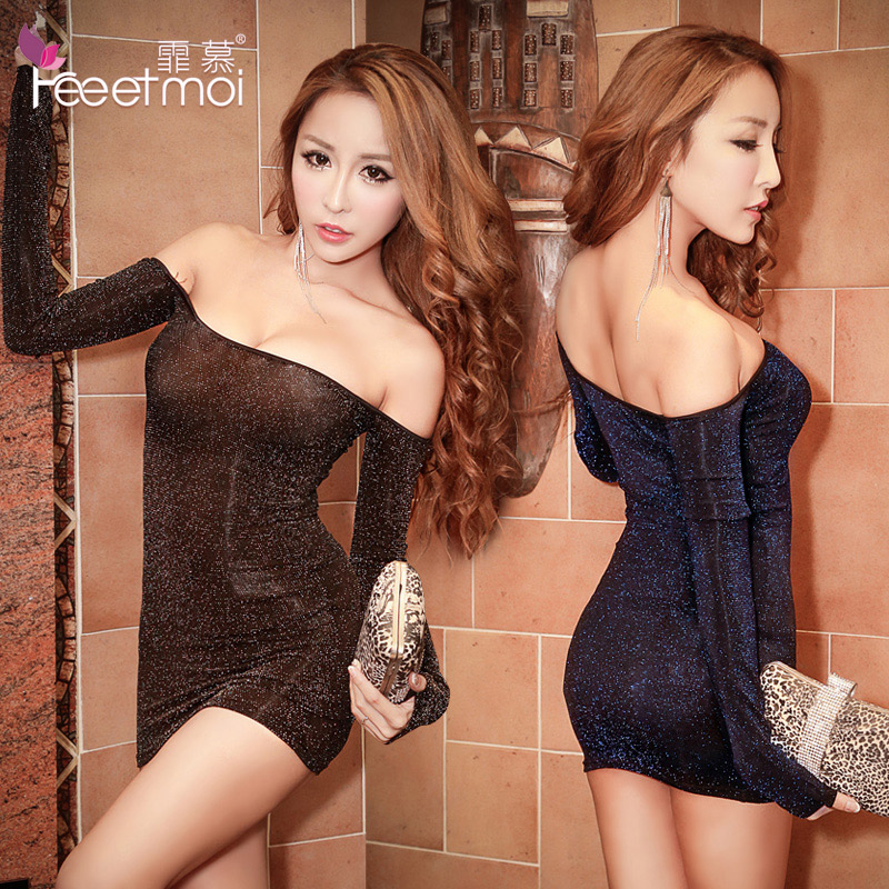 Fei mu fashion liangsi sleeved nightclub sexy strapless tight package hip clothing can waichuan sexy lady nightgown lm