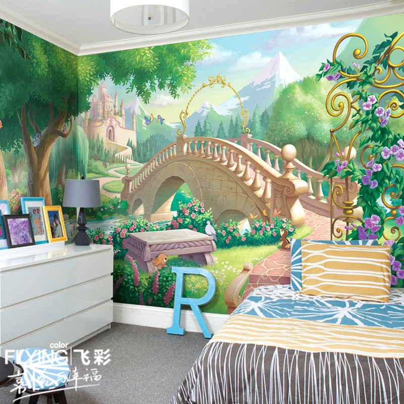 Feicai disney wallpaper pastoral scenery wallpaper mural backdrop bedroom children's room cartoon fairy tale world