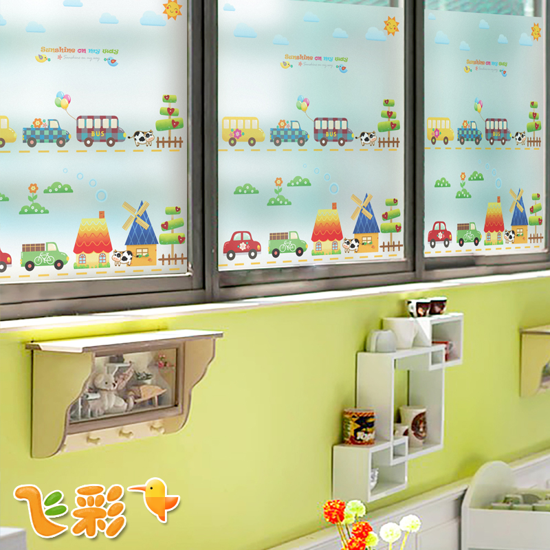 Feicai kindergarten cartoon paper frosted glass window stickers electrostatic film to the glass window film insulation film custom sun road