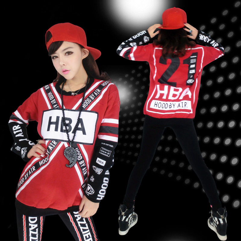 08c8912668efd Get Quotations · Female hip-hop hiphop new fall and winter clothes and long  sleeve t-shirt