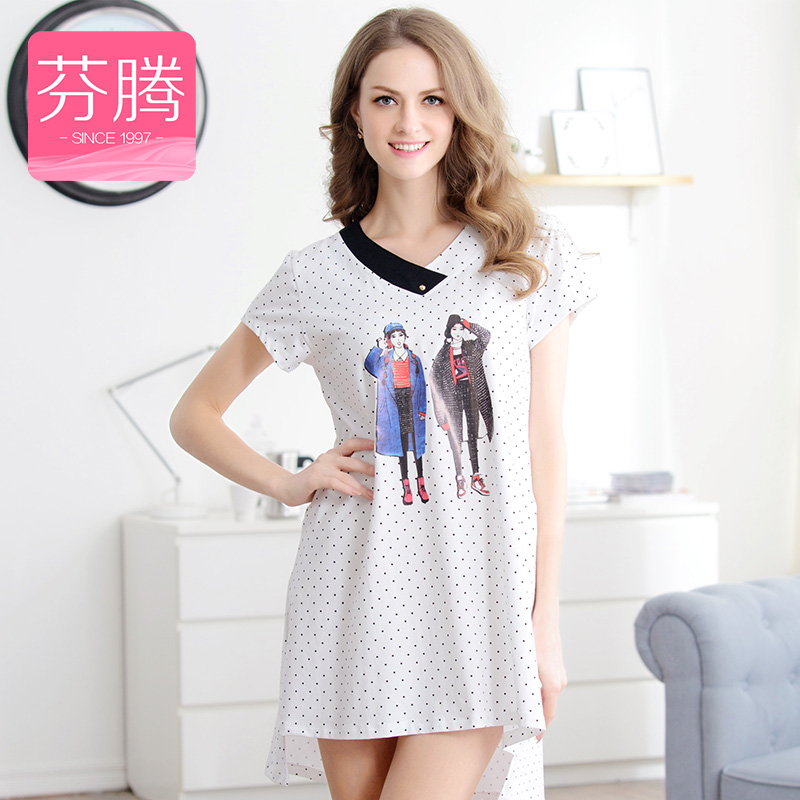 Fen teng 2016 new cartoon cotton nightgown female summer can waichuan korean polka dot short sleeve pajamas skirt tracksuit