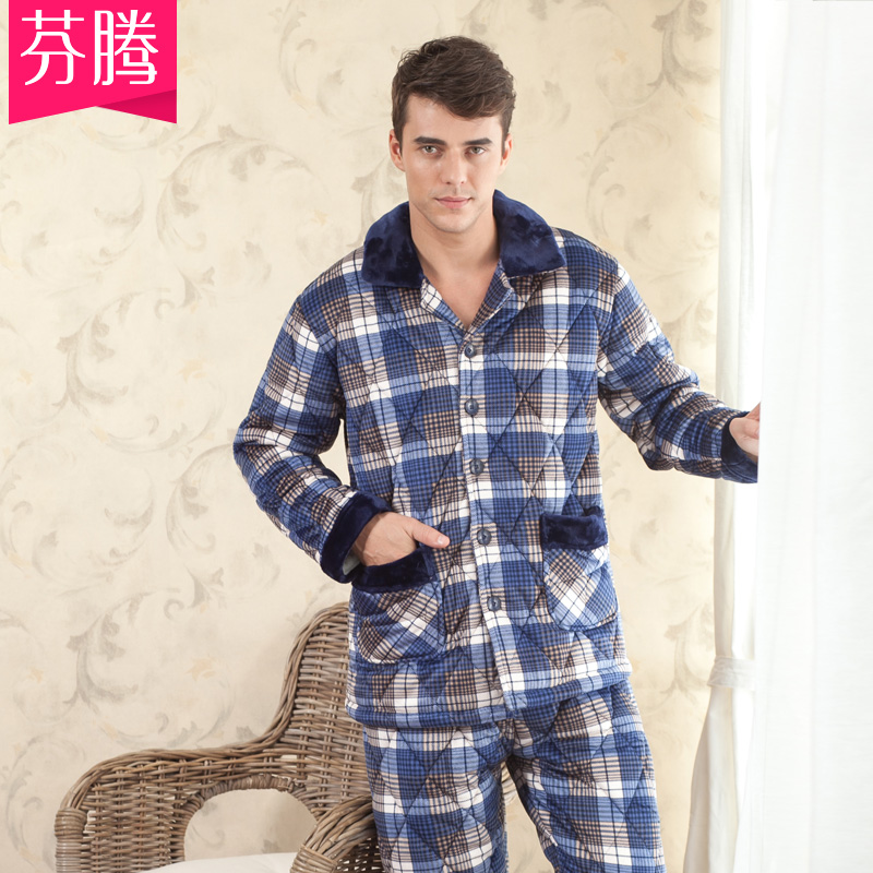 Fen teng pajamas new autumn and winter men's fashion plaid quilted thick coral velvet suit tracksuit