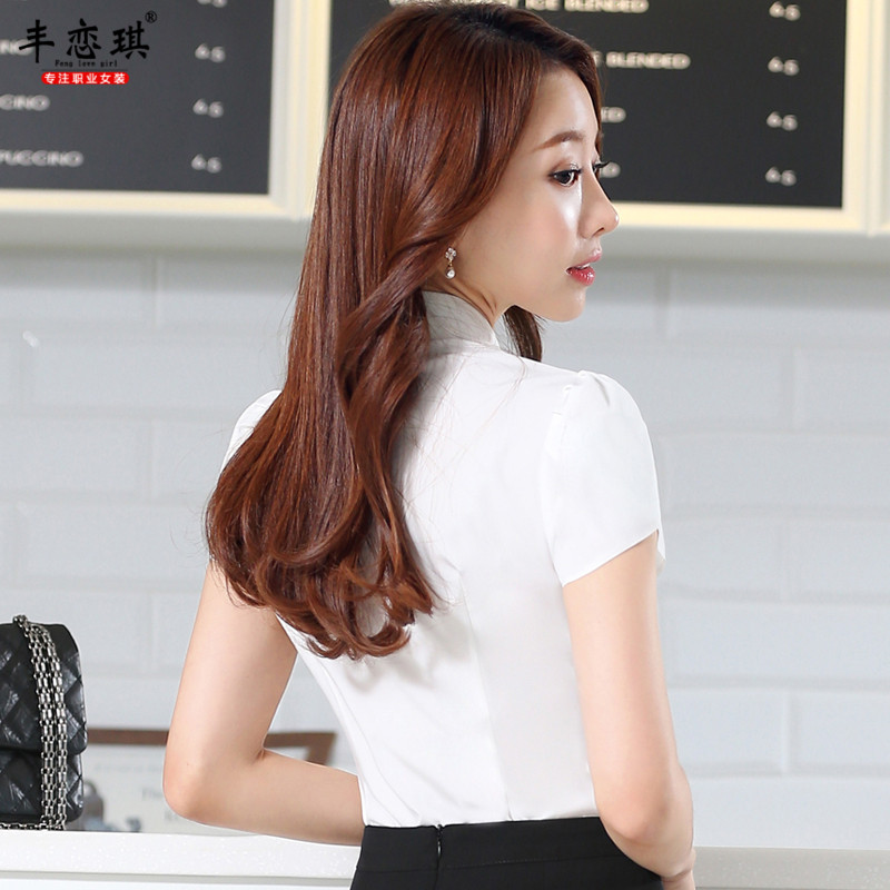 Feng qi love 2016 new summer wear short sleeve chiffon shirt cool breathable ms. positive beautician wear overalls