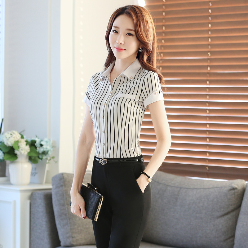 Feng qi love black and white striped summer fashion short sleeve stitching shirts women wear skirt suits ol skirt suits overalls