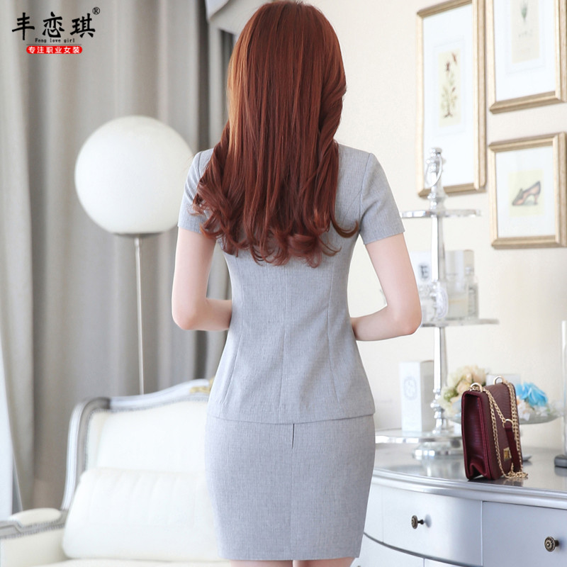 Feng qi love women wear dresses summer new ladies dress short sleeve fashion two button suit overalls interview