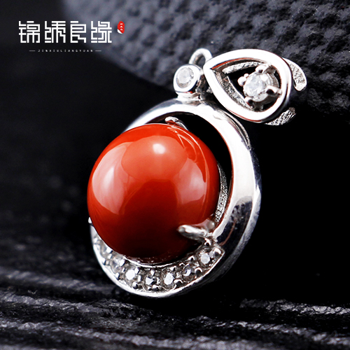 Fiddler liangshan southern red agate pendant natural persimmon red pendant sterling silver inlaid ponzu BDZ301