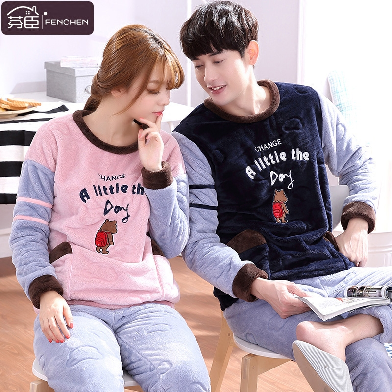 Finchem couple coral velvet pajamas long sleeve 2016 new autumn and winter flannel suit tracksuit thick warm law