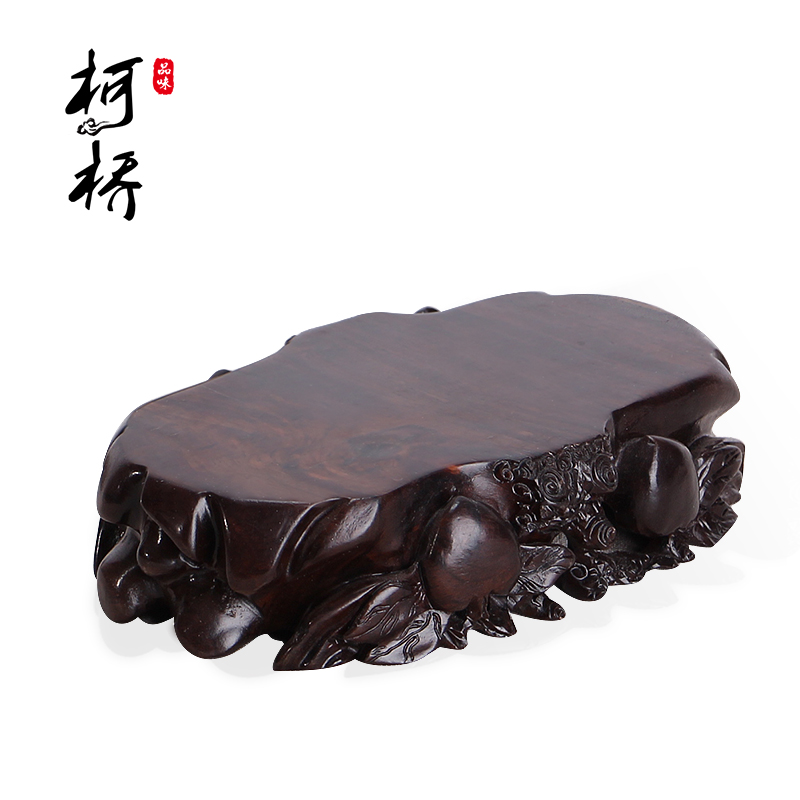 Fine black catalpa wood solid wood rectangular stone pedestal base can trench flower bonsai jade ornaments stone pedestal base