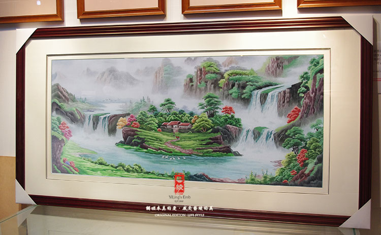 Fine embroidery embroidery handmade silk embroidery art landscape painting framed painting the living room sofa background decorative embroidery finished paintings
