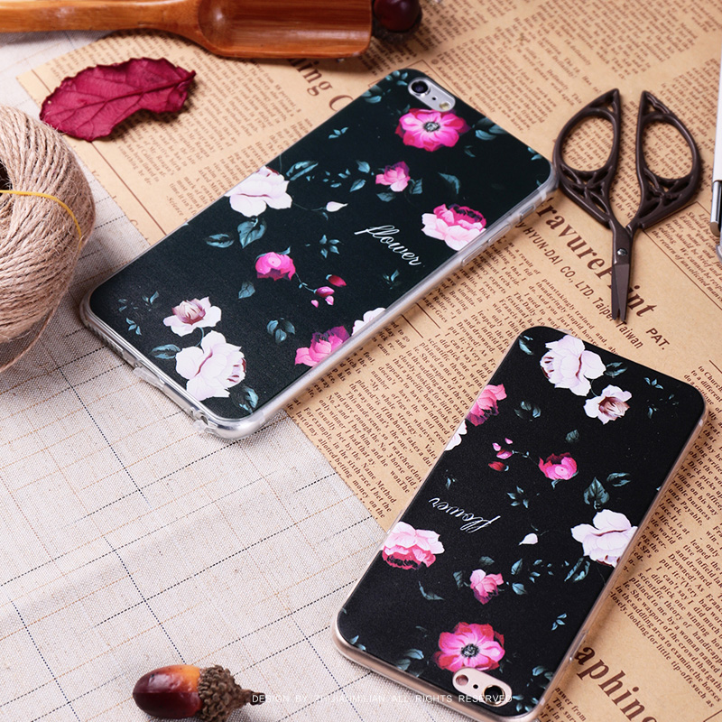 Fingertips obsessed with silicone soft shell apple iphone6 phone shell mobile phone shell s flowers plus protective shell mobile phone sets 5s