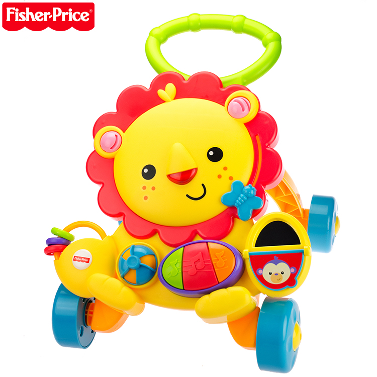 Fisher 7-18 months baby toys cartoon lion baby walker versatile rollover pushcart