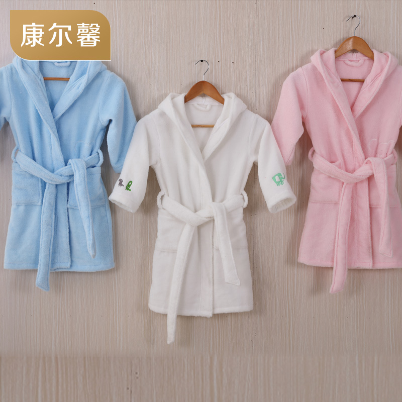 Five star hotel cotton toweling bathrobe children girls and boys of autumn and winter nightgown bathrobe children bathrobe children beishu music