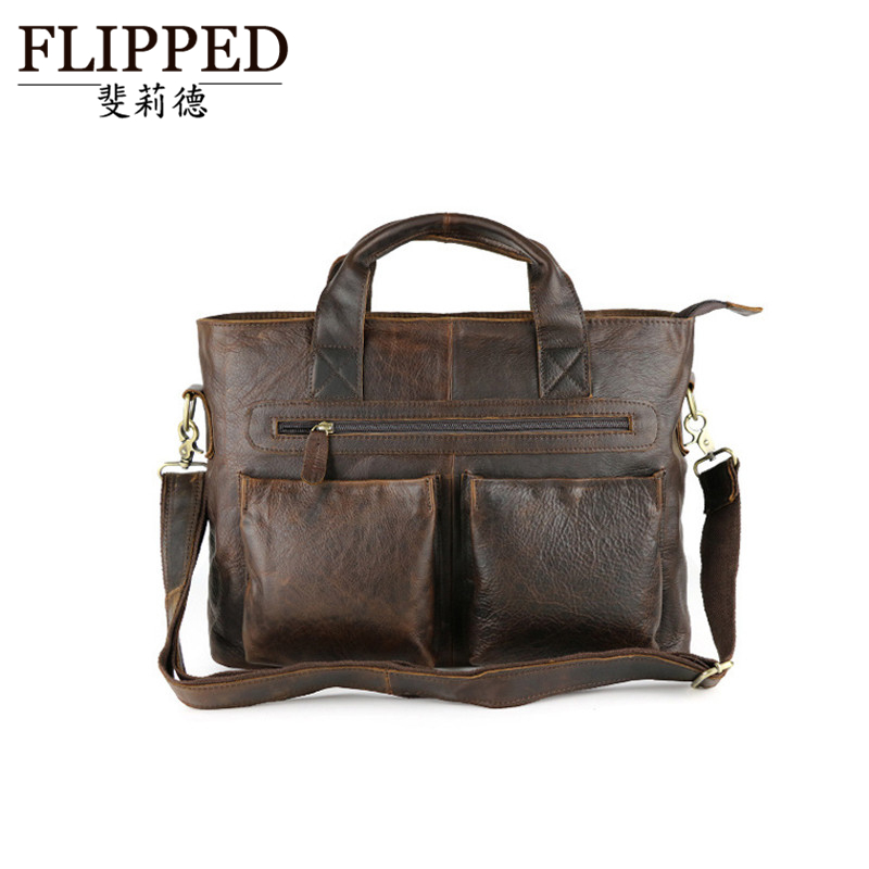 Flippedæède european and american crazy horse leather man bag first layer of leather shoulder messenger bag casual retro handbag