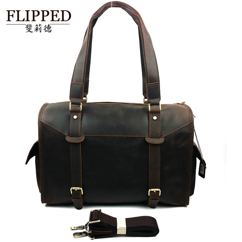 Flippedæède european and american fashion first layer of leather man bag casual shoulder bag messenger travel bag luggage bag