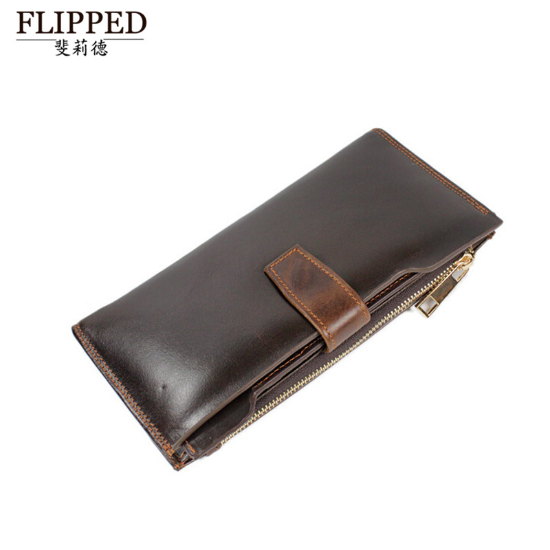 Flippedæède fashion first layer of leather casual men's wallet long wallet wallet card bit more