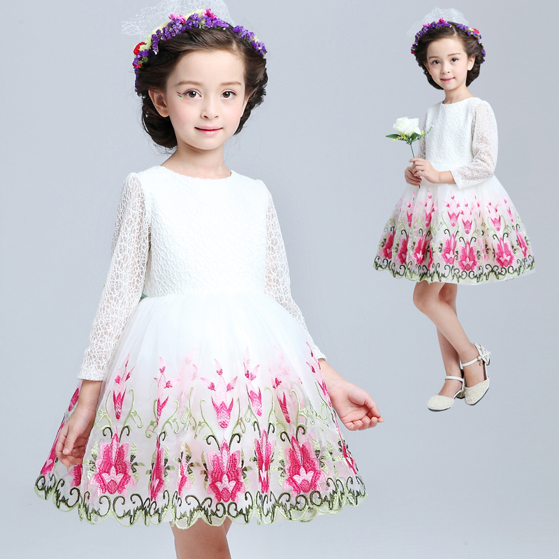 Flower girl dress children dress girls dress skirt autumn long sleeve princess dress tutu dress children dress winter wedding