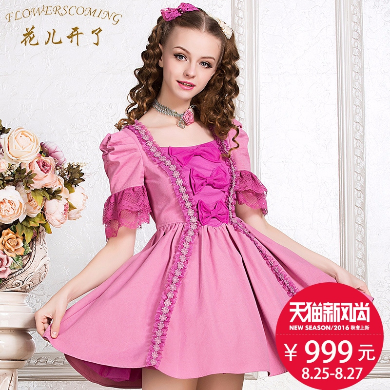 Flowers open in the summer retro palace princess dress square collar waist dress was thin solid wild elegant flowers