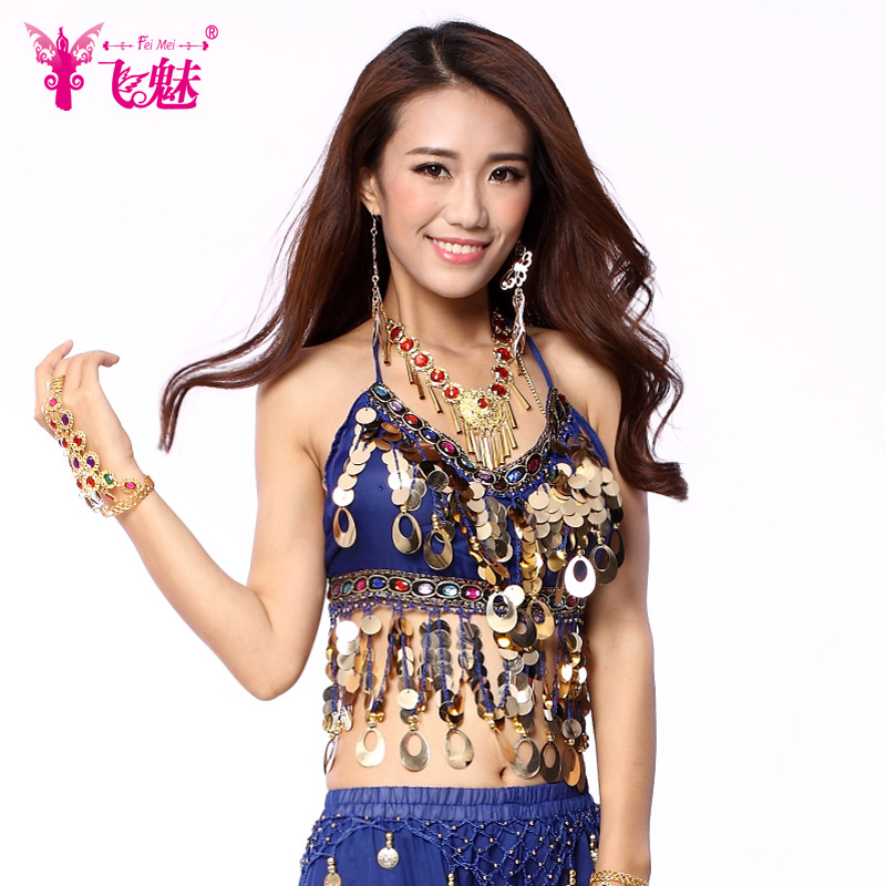 Fly charm belly dance belly dance tops with a chest pad belly dance costumes belly dance costume peacock chiffon blouse piece bra tops