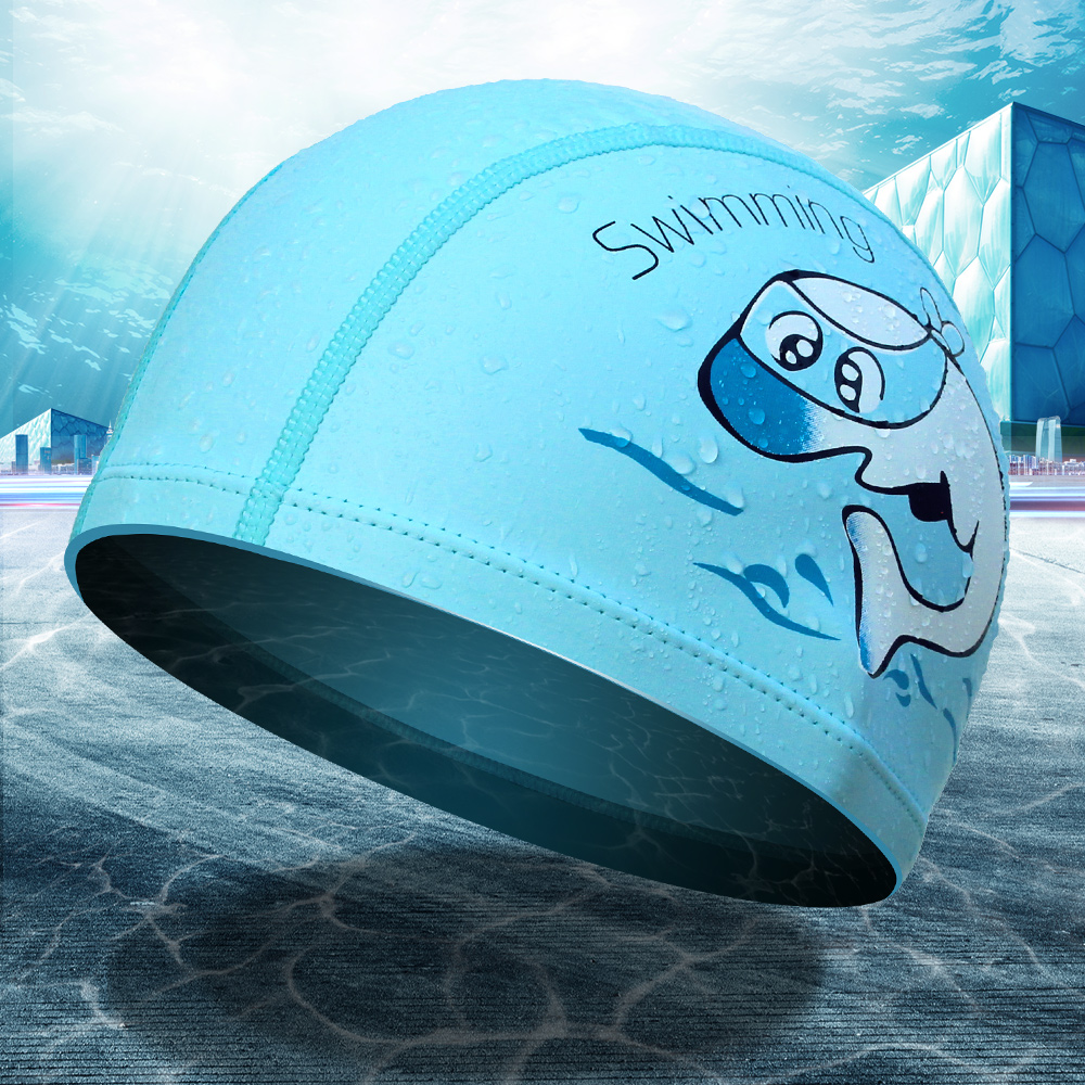 Flying fish swimming cap swimming cap pu waterproof sunscreen for children to increase comfort naples head ear fashion care professional