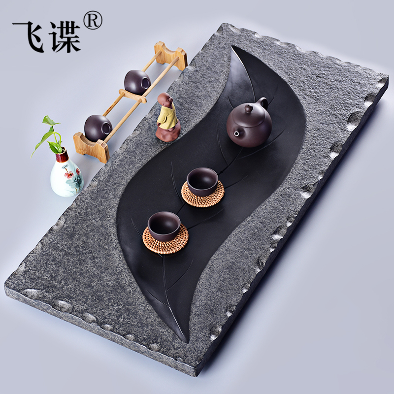 Flying spy ugyen stone natural stone stone tea tray large trumpet special household drainage stone tea taiwan dry foam