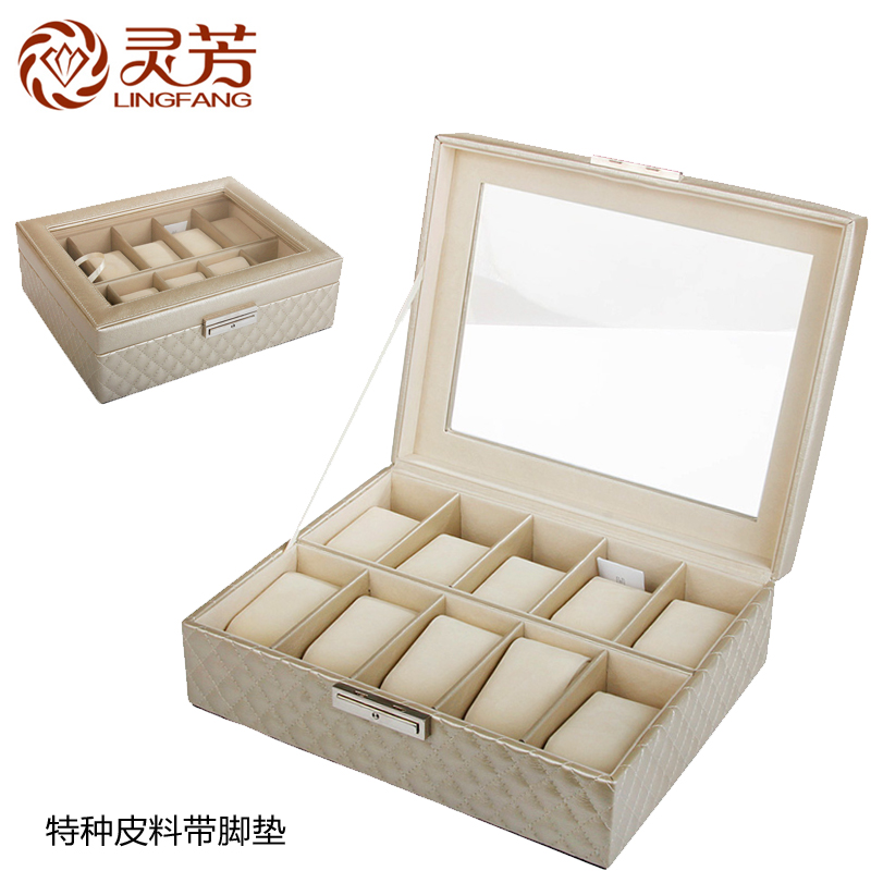 Fong ling leather bracelet watch box display box watch box watch box watch storage box skylight leadership boyfriend gift