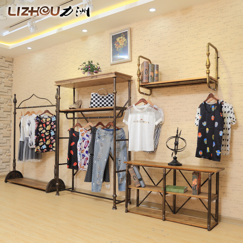 Force chau wood vintage clothing store display rack wrought iron clothing rack hanger floor in the island shelf on the wall