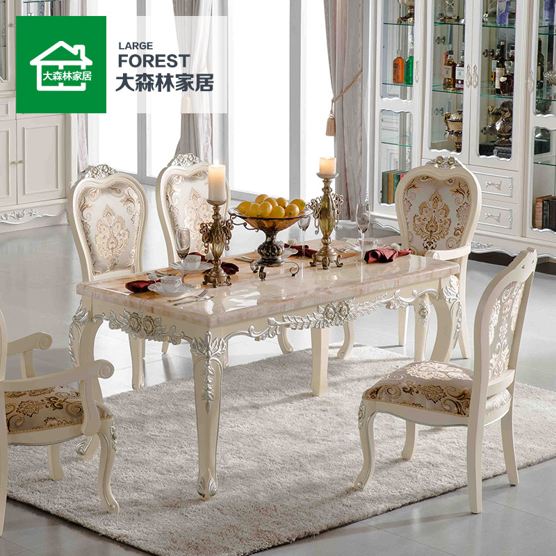 Forest furniture marble dining table dinette combination of european small apartment 6 people retro long rectangular dining tables and chairs g_2