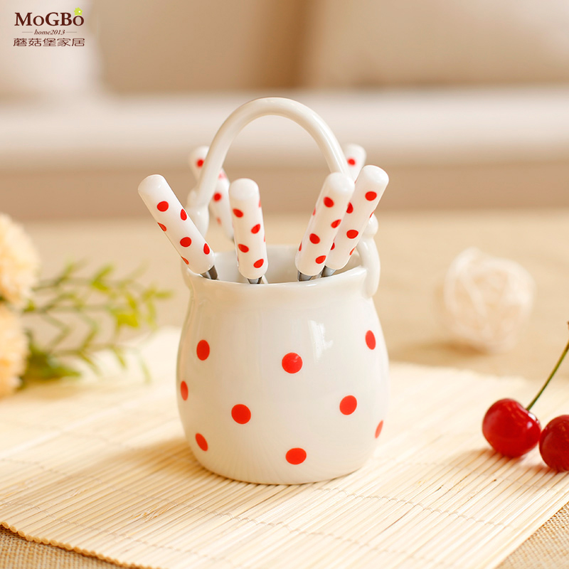 Fort mushrooms creative ceramic fruit fork kit stainless steel fork fruit sign lovely basket shoes minimalist home