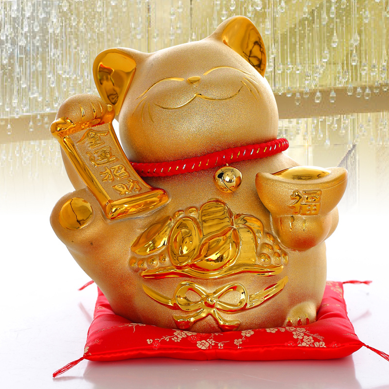 Fortune golden lucky cat lucky cat ornaments large ceramic piggy bank to save money in japan store opening gift ideas