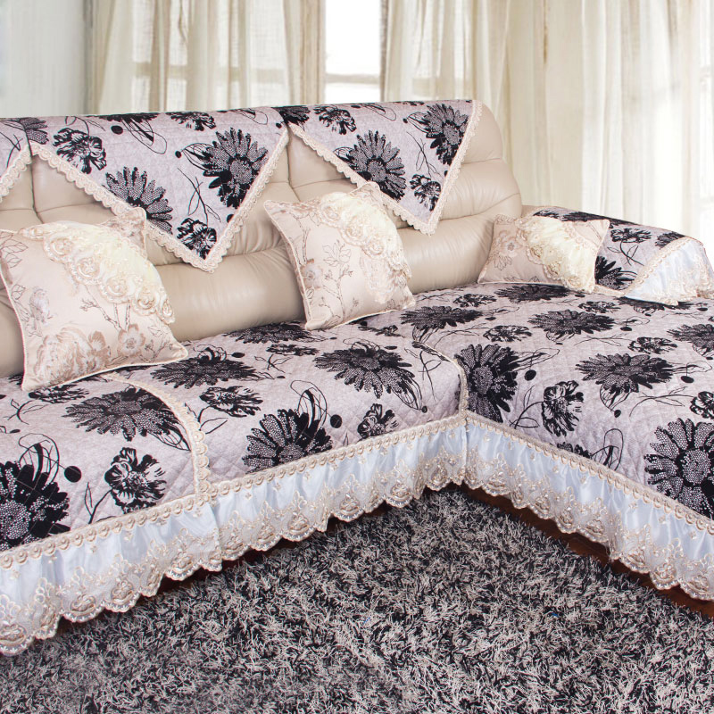 Four seasons fabric sofa cushion minimalist modern linen lace flocking skid pad leather sofa cushion sofa cover towel sets